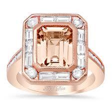 morganite gold engagement ring emerald cut morganite baguette diamond halo gold engagement ring