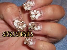 acrylic nail design gold fade