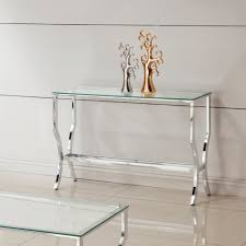 Glass And Metal Sofa Table Amazon Com Coaster Glass Top Console Table In Chrome Kitchen
