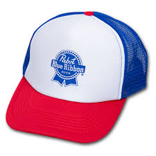 white blue ribbon blue ribbon pbr trucker hat white blue