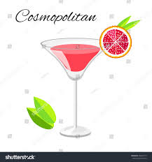 cartoon martini popular cosmopolitan cocktail vector cartoon style stock vector