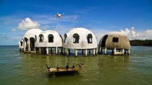 aerial video of the abandoned cape romano dome house recorded in