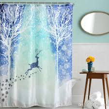 Polyester Shower Curtains 2018 Waterproof Snow Reindeer Polyester Polyester Shower
