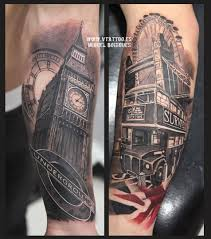 clock tattoo on hand tiger as sherlock holmes with big ben clock tattoo by chris curtis