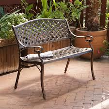 Cast Aluminum Patio Furniture Canada by Cast Aluminum Antique Copper Arched Back Bench Hayneedle