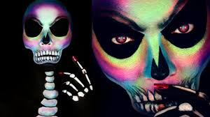 holographic skull halloween makeup tutorial colorful skull