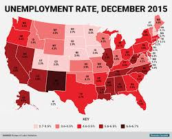 Maps Usa States by State Unemployment Rate Map December 2015 Business Insider