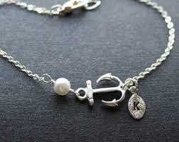 monogram bracelet silver anchor bracelet etsy