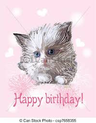 clipart vector of happy birthday greeting card with fluffy little
