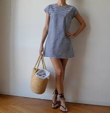 nautical sailor stripe t shirt dress tunic loose fit dress