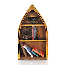 Canoe Bookcase Furniture Handcrafted Canoe Book Shelf Small