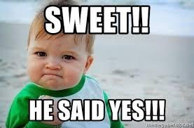 Baby Meme Fist - sweet he said yes fist pump baby meme generator