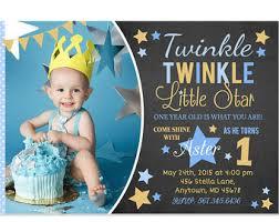 twinkle twinkle little star boy first birthday invitation