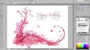 Birthday Card Ai Adobe Illustrator Tutorial Floral Happy Birthday Youtube