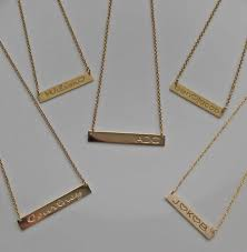personalized gold necklaces engraved gold bar necklace kardashians meghan markle be