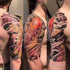 tattoo japanese koi sleeve japanese koi half sleeve tattoo bardadim tattoo brooklyn nyc