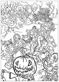 halloween monsters halloween coloring pages adults justcolor