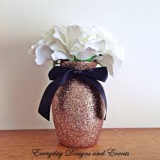 3 vases centerpieces 3 rose gold glitter vases with black satin bows wedding