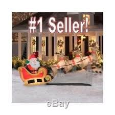 Blow Up Christmas Yard Decorations by Inflatable Santa Sleigh Flying Reindeer Lighted Blow Up Yard