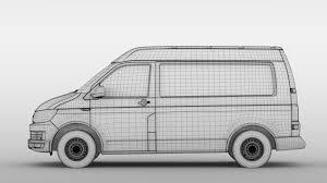 volkswagen van drawing 3d model volkswagen transporter van l1h2 t6 2017
