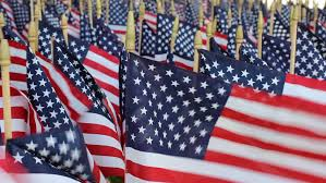 american flag decorations on memorial day stock footage