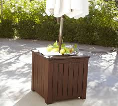 umbrella stand table base chatham umbrella stand side table honey pottery barn