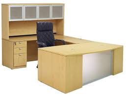 U Shaped Computer Desk With Hutch by Glass Front Maple Conference Desk