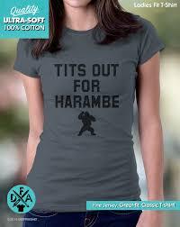 Tits Meme - new tits out for harambe shirt gorilla meme funny shirt cotton