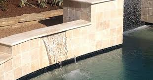 Waterfall Glass Tile Sheer Descent Pool Swimming Pool Remodel Installation Design