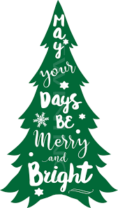 merry and bright christmas tree svg png pdf dxf