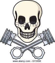 hemi skull and pistons vector stock vector illustration