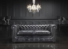 Grey Leather Living Room Chairs Dark Brown Leather Chesterfield Sectional With Reclyner And