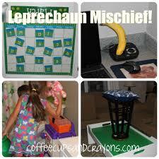 leprechaun mischief coffee cups and crayons