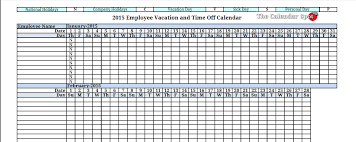 2015 employee vacation absence tracking calendar 2015 printable