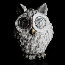 3 solar owls garden light led ornaments 13cm