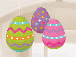 3 x easter eggs paper hanging decorations lanterns easter party