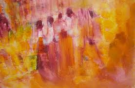 abstract figurative painting people walking up down stairs