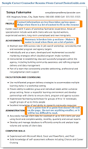 Sample Resume For A Career Change by Sample Career Counselor Resume