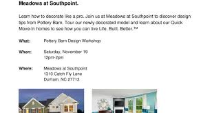 Pottery Barn Where I Live Meritage Hosts Pottery Barn Design Workshop New Homes U0026 Ideas