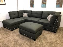 Sectionals Sofa 1 In Stock N753r 250 Black Linen Studded Linen Sectional