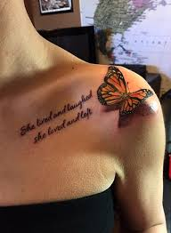 3d butterfly with quote