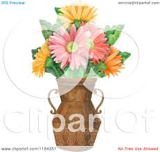 Flowers In A Vase Images Clipart Of Colorful Gerbera Daisy Flowers In A Vase Royalty Free