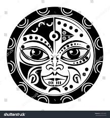 sacred geometry tiki mask tattoo tradition stock vector 337074335