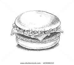 illustration burger vector drawing sandwich ingredients stock