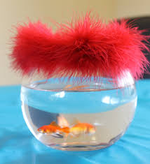 dr seuss birthday party centerpiece with real fish fish bowls