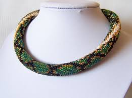 crochet necklace bead images Green snake necklace bead crochet necklace snake skin etsy jpg