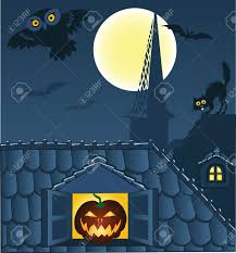 black cat halloween background night town roofs cat owl and bats halloween background royalty