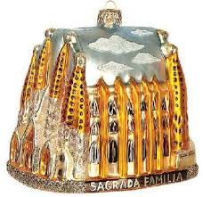 sagrada familia cathedral glass tree ornament
