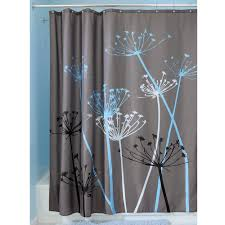 Modern Bathroom Shower Curtains by Modern Bathroom With Dandelions Grey Shower Curtain And Stainless
