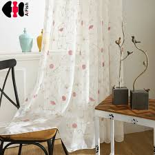 Pink Flower Curtains Aliexpress Com Buy Pink Flower Embroidered Voile Curtains Door
